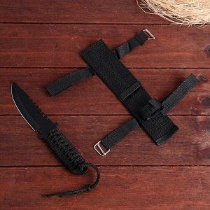 Нож в оплетке, на лезвии дуга с зазубринами