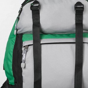 Рюкзак туристический, 40 л, отдел на молнии, 3 наружных кармана, цвет чёрный/зелёный