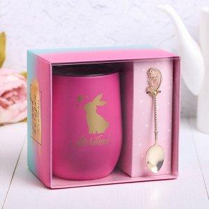 """Подарочный набор """"Мечтай"""", термокружка, ложка, сохраняет тепло 1 ч"""