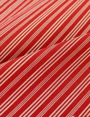 """Пестрядь Купава-Этно """"Белые тройные полосы на бордово-кирпичном"""" 1.6м, хлопок-100%, 210гр/м.кв"""