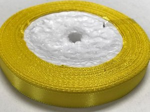 Лента атласная 1 см бобина 22м желтый (15)