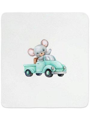 """Трикотажный плед """"Мышонок на машинке"""""""