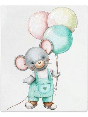 """Трикотажный плед """"Мышонок с шариками"""""""