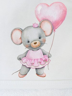 """Полотенце с уголком и принтом """"Мышка с сердечком"""""""