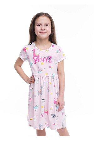 #100814 Платье св.розовый/серый