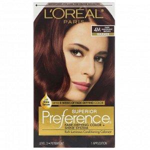 L'Oreal, Краска для волос Superior Preference с технологией против вымывания цвета и системой придания сияния, теплый, темный красно-коричневый 4M, на 1 применение