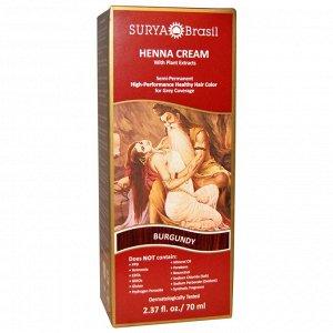 Surya Brasil, Крем с хной, Окрашивание & кондиционирование волос, Бургунди, 2.37унции (70 мл)
