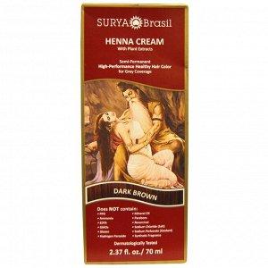 Surya Brasil, Эффективная здоровая краска Henna Cream для седоватых волос, темно-каштановый, 70 мл (2,37 жидких унции)