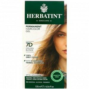 Herbatint, Permanent Haircolor Gel, 7D, Golden Blonde, 4.56 fl oz (135 ml)