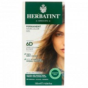Herbatint, Перманентная гель-краска для волос, 6D, темный золотой блондин, 135 мл