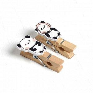Прищепки декоративные с верёвкой для подвеса «Панда» набор 10 шт.