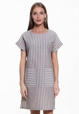 Платье с карманами, рукава с манжетами, полоска, лен