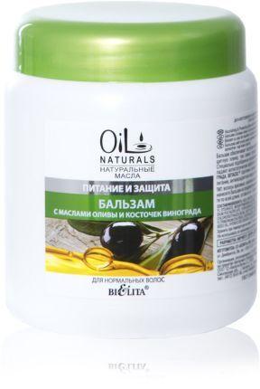 Белита OIL NATURALS Бальзам для нормальных волос с маслами ОЛИВЫ и КОСТОЧЕК ВИНОГРАДА , 450 мл