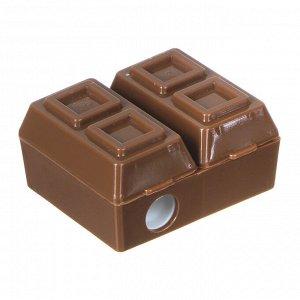 Точилка для карандашей с ластиком, в 2х-секционном корпусе в форме шоколадки, 3,5x4,3см, пластик