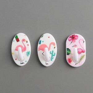 Набор крючков на липучке «Розовый фламинго», 3 шт, форма МИКС