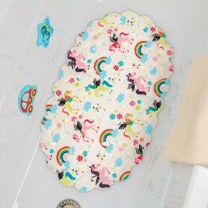 Коврик для ванны Доляна «Радужные единороги», 38?66 см