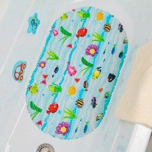Коврик для ванны Доляна «Морские жители», 39?67 см