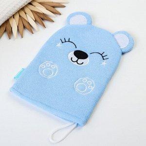 Мочалка детская для купания «Мишка», варежка, из махры