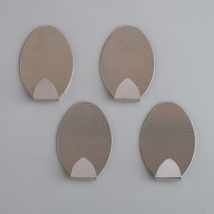 Набор крючков на липучке «Овал», 4 шт, металл