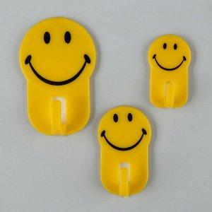 Набор крючков на липучке Доляна «Смайлик», 3 шт, цвет жёлтый