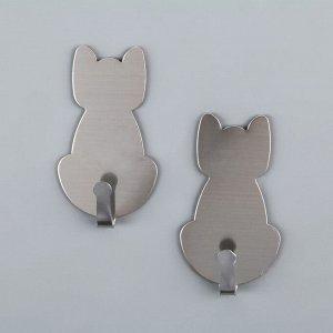 Набор крючков на липучке Доляна «Кошка», 2 шт, металлические