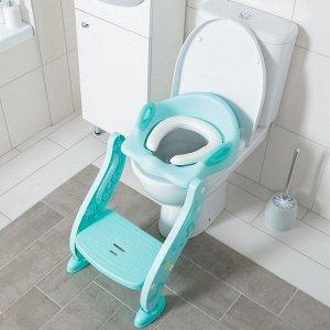 Детская накладка - сиденье на унитаз, мягкое, со ступенькой, цвет бирюзовый