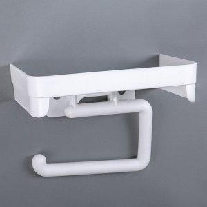 Держатель для туалетной бумаги с полочкой, цвет белый