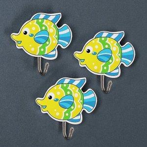 Набор крючков на липучке Доляна «Подводный мир», 3 шт, дизайн МИКС