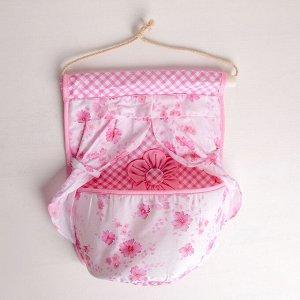 Органайзер с карманами подвесной «Цветочный», 1 отделение, 26?22 см, цвет МИКС