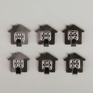 Набор крючков на липучке Доляна «Дом», 6 шт, металлические