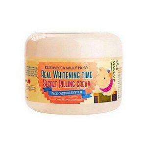 Крем для лица осветляющий [ELIZAVECCA] Milky Piggy Real Whitening Time Secret Pilling Cream 100g
