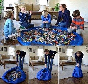 Сумка-коврик для игрушек Toy Bag диаметр 150 см цв. лимонно-синий