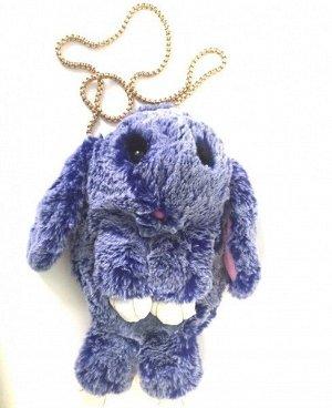 """Сумка-рюкзак 3D """"Меховой Кролик"""" на цепочке (натуральный мех) бело-синий"""