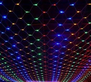 Светодиодная LED гирлянда Сетка 1,5*1,5 м. Цветное свечение