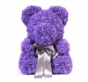 Мишка ручной работы из сотен роз с ленточкой большой сиреневый Оригинал в коробке
