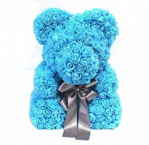 Мишка ручной работы из сотен роз с ленточкой большой голубой Оригинал в коробке