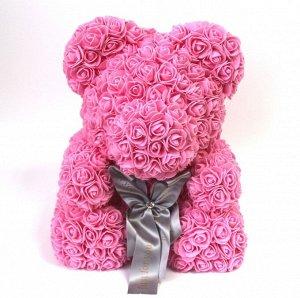 Мишка ручной работы из сотен роз с ленточкой большой розовый Оригинал в коробке