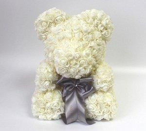 Мишка ручной работы из сотен роз с ленточкой большой кремовый Оригинал в коробке