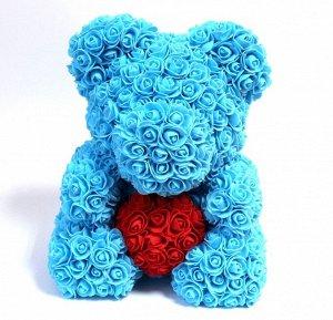 Мишка ручной работы из сотен роз с сердцем большой голубой Оригинал в коробке