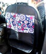 Защита для спинки сиденья + Органайзер для автомобиля, 1 карман под замком, Узоры