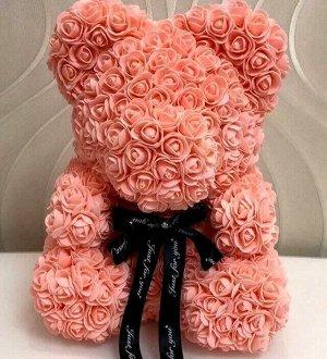 Мишка ручной работы из сотен роз с ленточкой 25 см. персиковый Оригинал в коробке