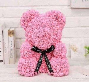 Мишка ручной работы из сотен роз с ленточкой 25 см. светло-розовый Оригинал в коробке