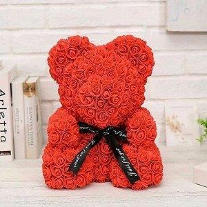 Мишка ручной работы из сотен роз с ленточкой 25 см. красный Оригинал в коробке