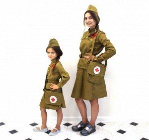 Детский костюм санитарки + сумка + оригинальная пилотка и ремень со звездой + георгиевская лента и звезда