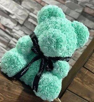 Мишка ручной работы из сотен роз с ленточкой 25 см. зеленый Оригинал в коробке