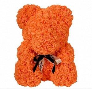 Мишка ручной работы из сотен роз с ленточкой 25 см. оранжевый Оригинал в коробке