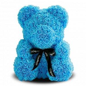 Мишка ручной работы из сотен роз с ленточкой 25 см. голубой Оригинал в коробке