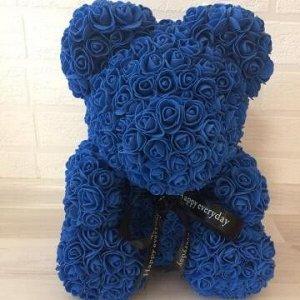 Мишка ручной работы из сотен роз с ленточкой 25 см. синий Оригинал в коробке