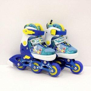 Роликовые коньки раздвижные со светящимися колесами, размер 26-29 Синий