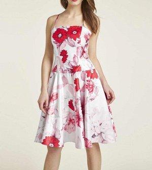 Платье, бело-красное